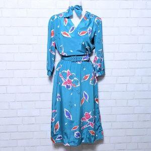 Vintage Herman Marcus Floral Midi Dress 10
